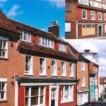 The Grade II listed residential properties after the alterations and before, inset.