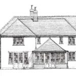 Proposed side elevation of the house showing the two storey extension and garden room.