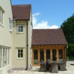 Side elevation showing th enew oak Garden Room