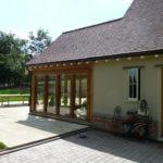 Rear elevation showing the oak Garden Room